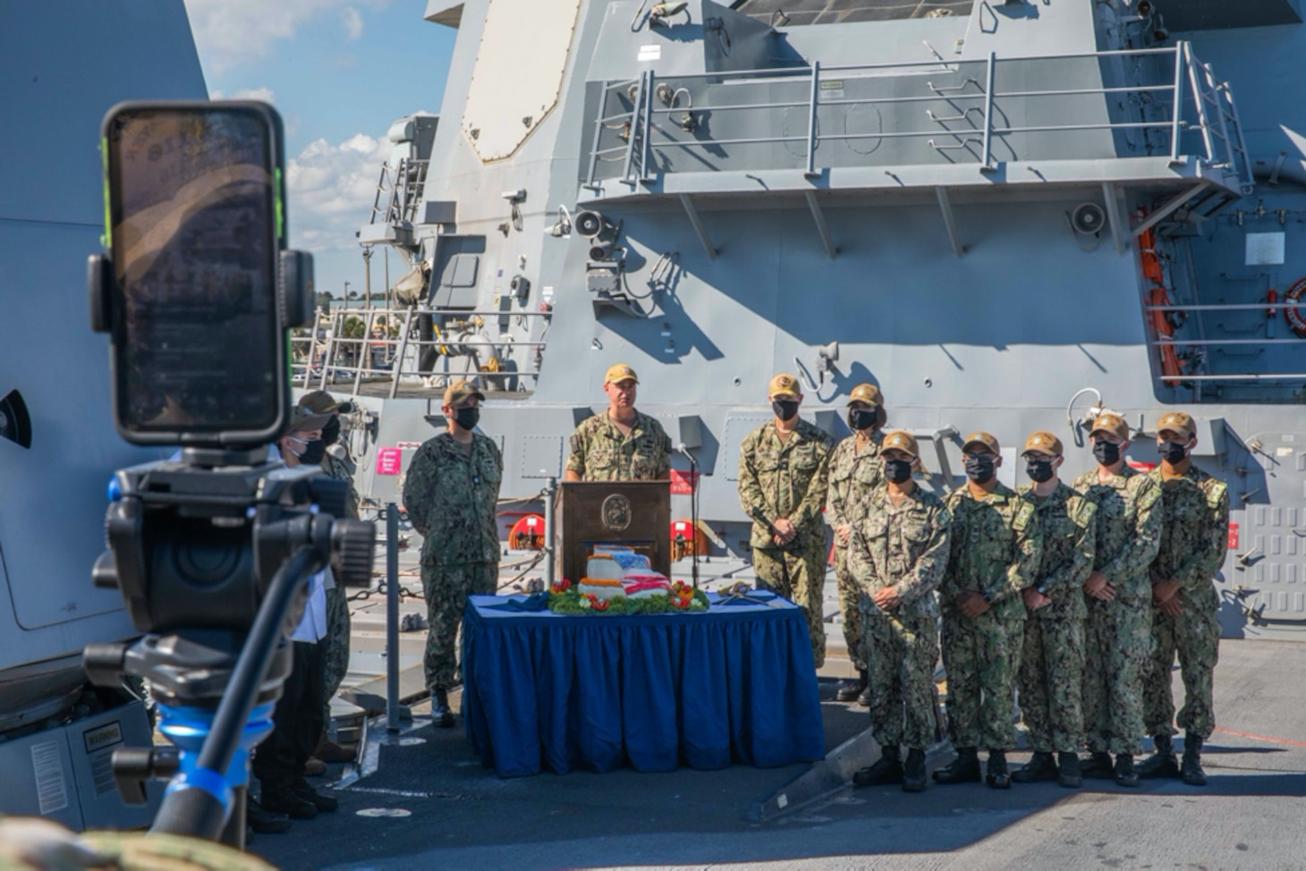Rear Adm. Brendan McLane, commander, Naval Surface Force Atlantic, introduces the Task Group Greyhound (TGG) Initiative during a livestream aboard the guided-missile destroyer USS Thomas Hudner (DDG 116). TGG is a force generation initiative, inside the Optimized Fleet Response Plan (OFRP) construct, designed to provide the Fleet with predictable, continuously ready, and fully certified warships ready to accomplish the full range of fleet tasking. (U.S. Navy photo by Mass Communication Specialist 3rd Class Aaron Lau/Released)