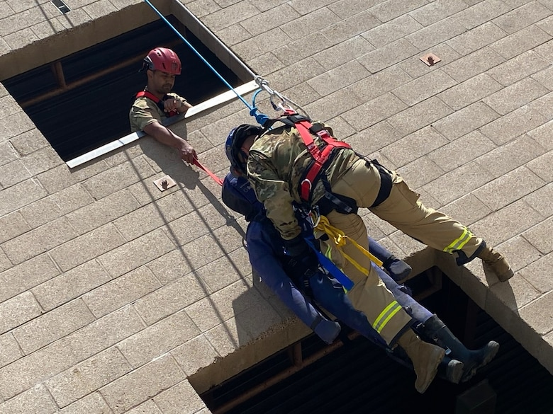 Air National Guard members exercising search and extraction skills