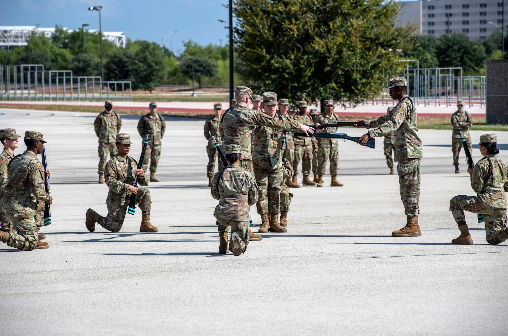 Airmen do freestyle drill competition.