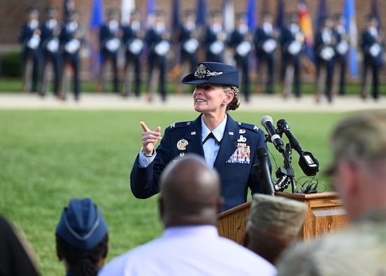 U.S. Air Force Col. Cat Logan, incoming commander of Joint Base Anacostia-Bolling and the 11th Wing, makes her remarks during a change of command ceremony at JBAB, Washington, D.C., Sept. 28, 2021. Logan took command from Col. Mike Zuhlsdorf, making her the first female commander of JBAB and the 11th Wing and the second commander of the wing at JBAB since the Air Force wing took authority of the installation during the Department of Defense's first-ever joint base service lead transfer in 2020. (U.S. Air Force photo by Staff Sgt. Kayla White)