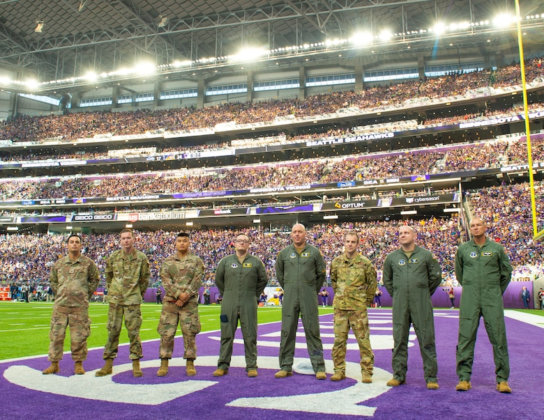 U.S. Air Force Airmen from the 133rd Airlift Wing were recognized during the third quarter of the Minnesota Vikings home opener game in Minneapolis, Minnesota, Sept. 26, 2021.