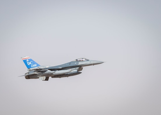 A U.S. Air Force F-16 Fighting Falcon assigned to the 121st Expeditionary Fighter Squadron takes off from the runway at Prince Sultan Air Base, Kingdom of Saudi Arabia, prior to flying to Al Udeid Air Base, Qatar, for Exercise Sky Shield III,  July 31, 2021. Sky Shield is a bilateral defensive counter air and combat search and rescue exercise designed to validate U.S. Air Forces Central and Qatar Emiri Air Force's combined capability to defend regional airspace. The event allowed the 378th Air Expeditionary Wing to demonstrate its agile combat employment capabilities of repositioning forces in various locations and rapidly generating combat airpower. (U.S. Air Force photo by Staff Sgt. Caleb Pavao)