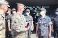 U.S. Army Reserve 658th Regional Support Group (RSG) Brigade Commander Col Sam Hunter greets Maj. Gen. Bong Soo Kim, Division Commander of the 53rd Infantry Division, Republic of Korea Army at Busan, September 15 2021. The two met for a planning meeting for future operations and to help strengthen the partnership between the U.S. and Republic of Korea.