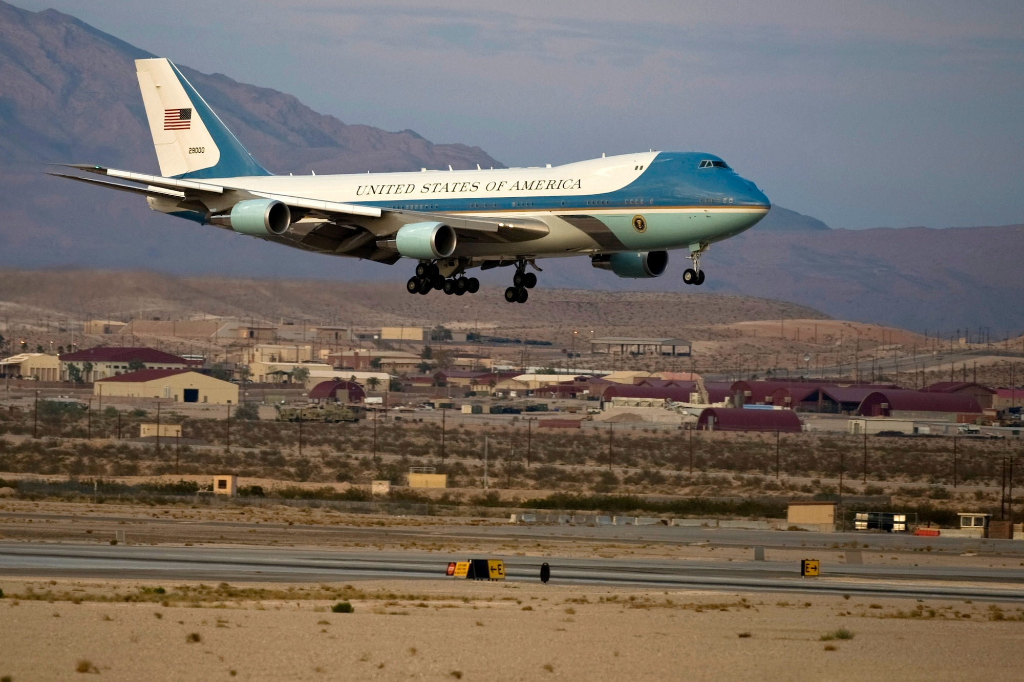 Air Force One lands at Nellis Air Force Base