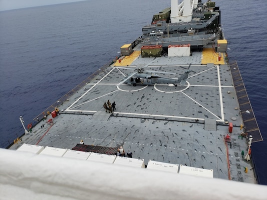 Military Sealift Command's prepositioning and seabasing ship, USNS Pililaau (T-AKR 304), takes part in MALABAR 21 on Aug. 30.