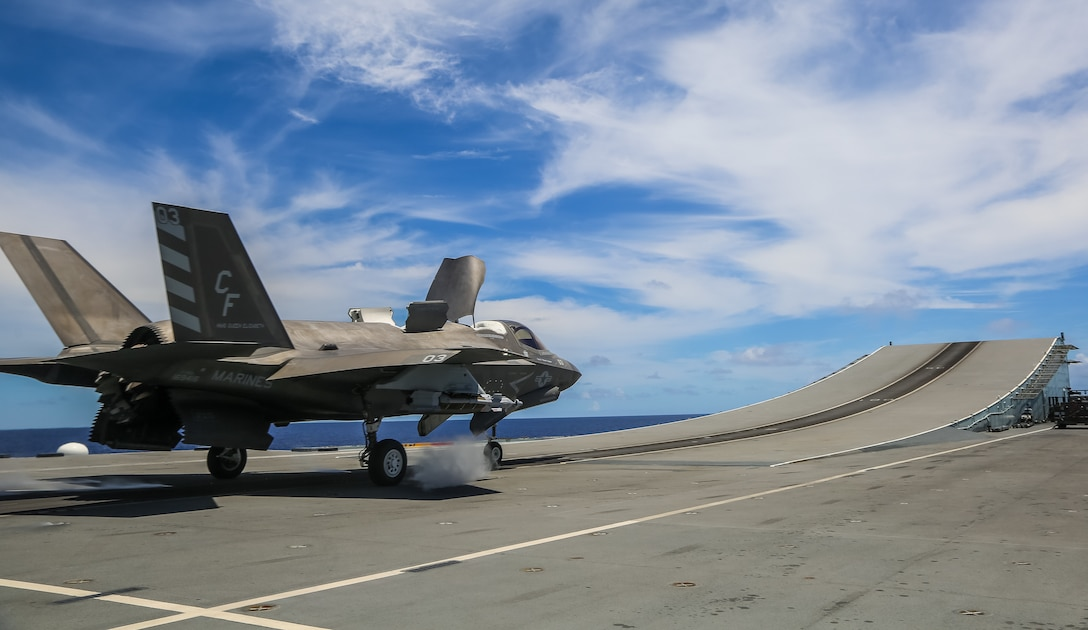 US Marine Capt Andrew Sanchez with Marine Fighter Attack Squadron (VMFA) 211 prepares to launch an F-35B from the flight deck of HMS Queen Elizabeth while armed with a Guided Bomb Unit 49 (GBU-49) in the Western Pacific Ocean on September 12th, 2021. The GBU-49 is a laser and GPS-guided bomb effective across various conditions and against many types of moving or stationary targets. VMFA-211, deployed aboard HMS Queen Elizabeth as part of the United Kingdom's Carrier Strike Group 21, became the first squadron to employ the GBU-49 from a Queen Elizabeth class aircraft carrier.