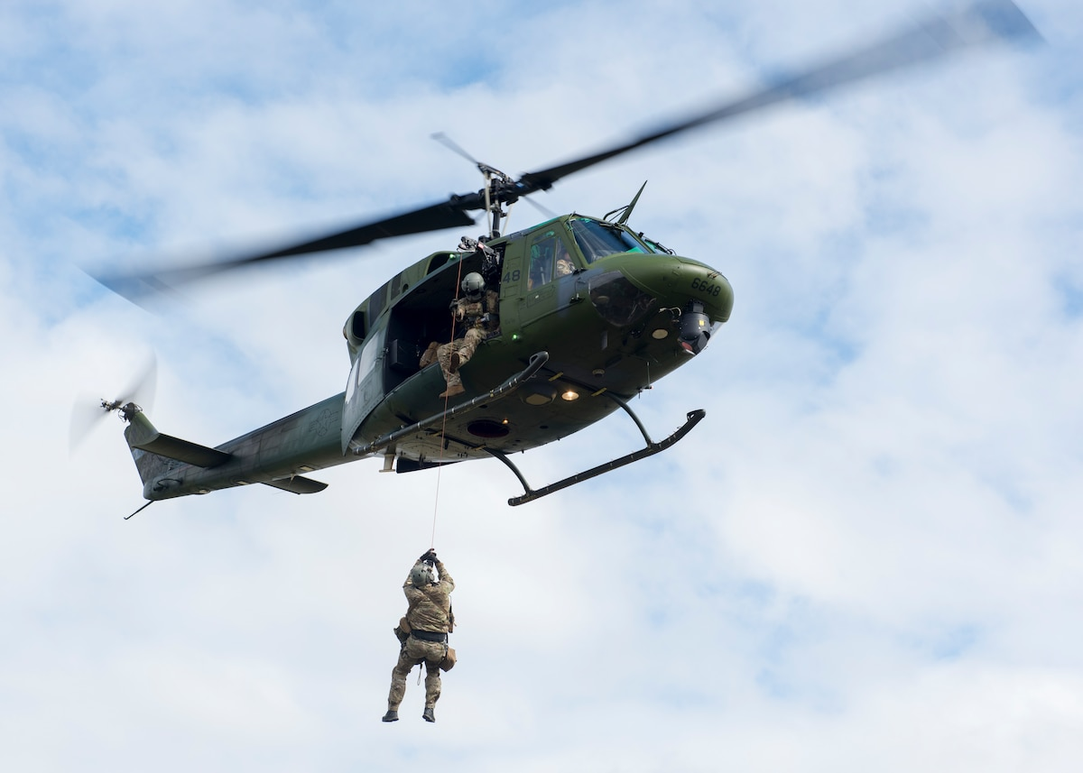 The 36th RQS is the only operational rescue squadron flying UH-1N Huey helicopters