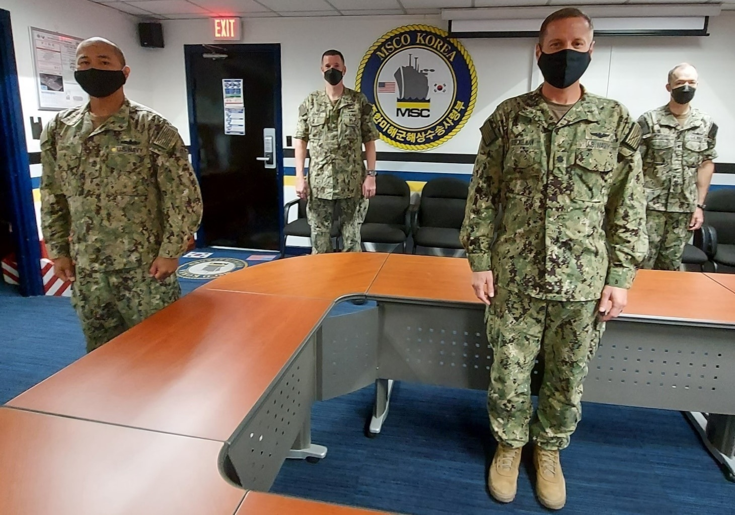 From left, members of the Military Sealift Command Office Korea's reserve unit, including, FCC Allen Ganir, Capt. Roger Ouimet, Cmdr. Levi Broeckelman and Cmdr. Brad Newcomer, returned to the Republic of Korea in August to work with their MSC, Navy, combined and joint counterparts during a particularly busy training period.