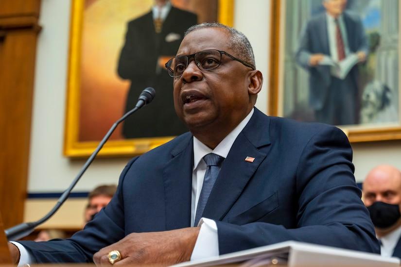Defense Secretary Lloyd J. Austin III speaks during a hearing.