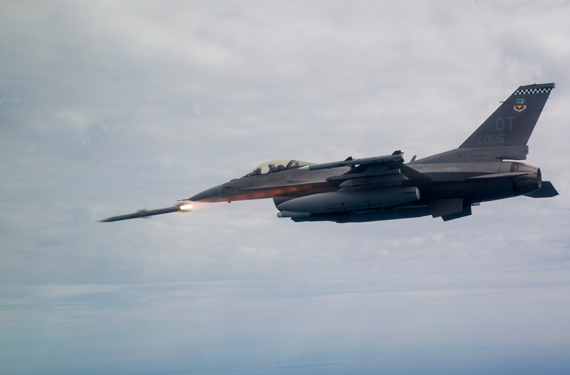 An F-16C Fighting Falcon assigned to the 85th Test Evaluation Squadron shoots an AIM-120 Advanced Medium-Range Air-to-Air Missile