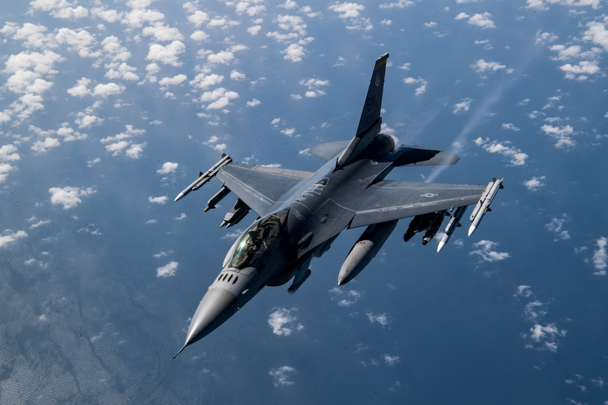 A U.S. Air Force F-16 Fighting Falcon flies over Afghanistan