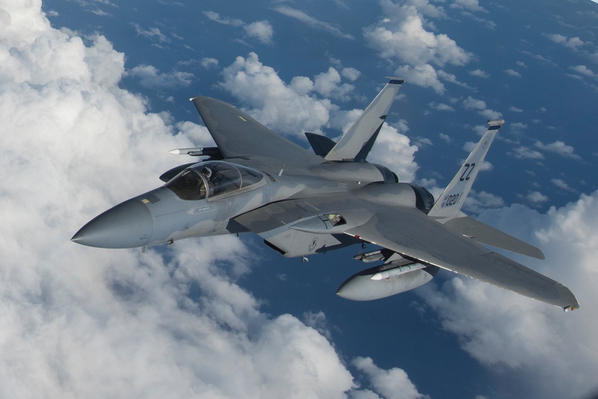 A U.S. Air force F-15C Eagle Flies above the Mariana Islands