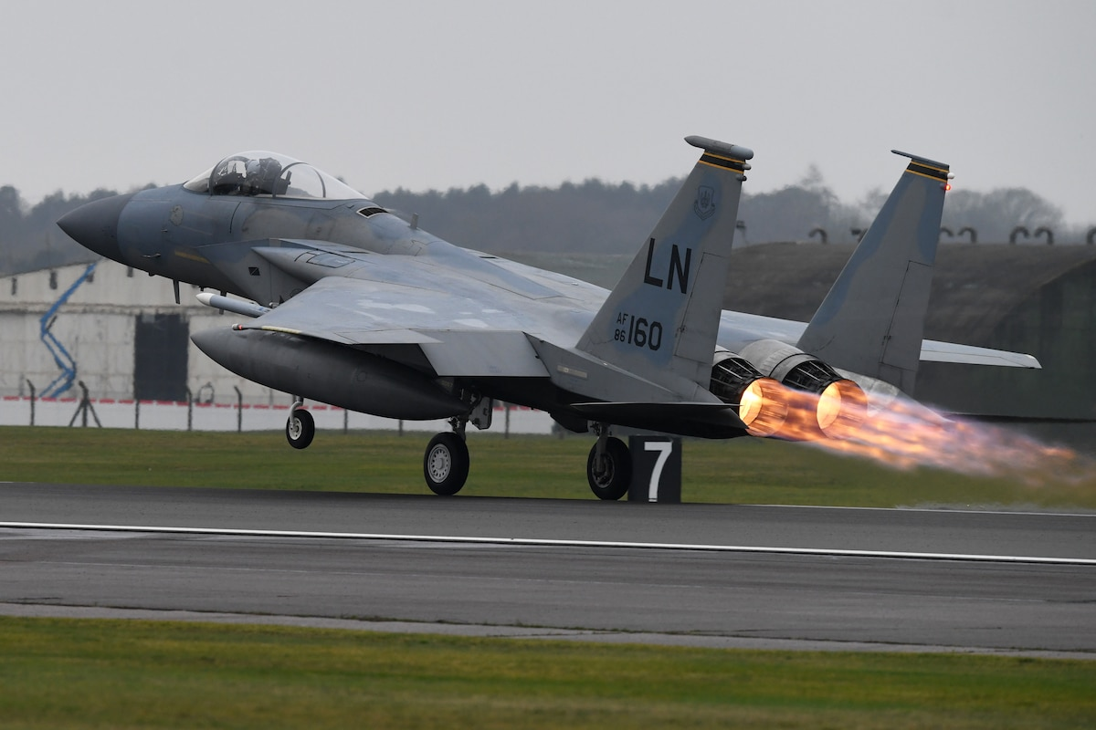An F-15C Eagle assigned to the 493rd Fighter Squadron takes off