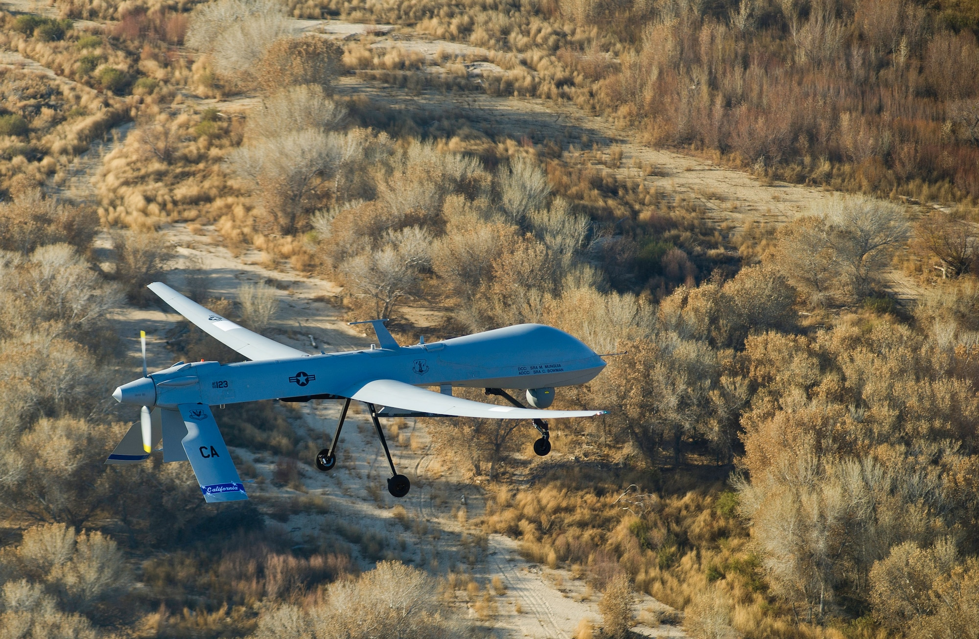 The MQ-1 Predator assigned to the 163rd Reconnaissance Wing is in flight