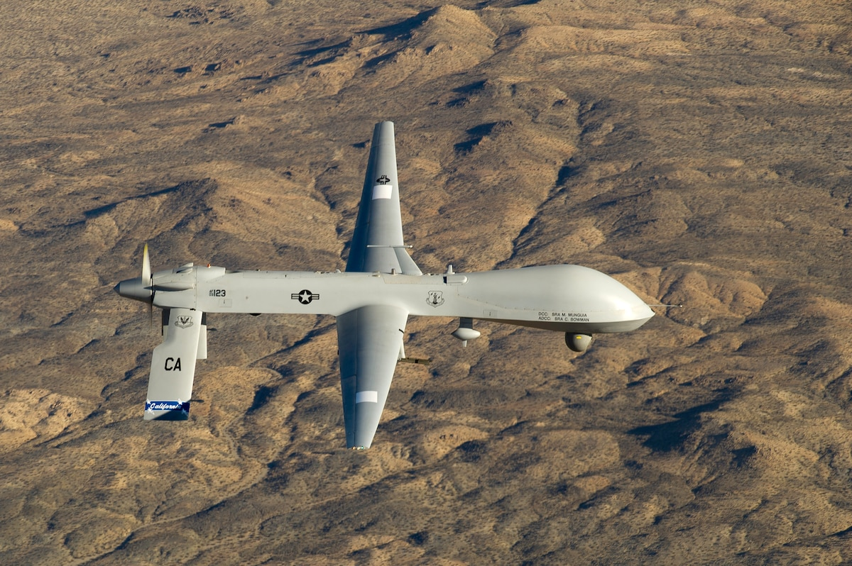 The MQ-1 Predator assigned to the 163rd Reconnaissance Wing in flight