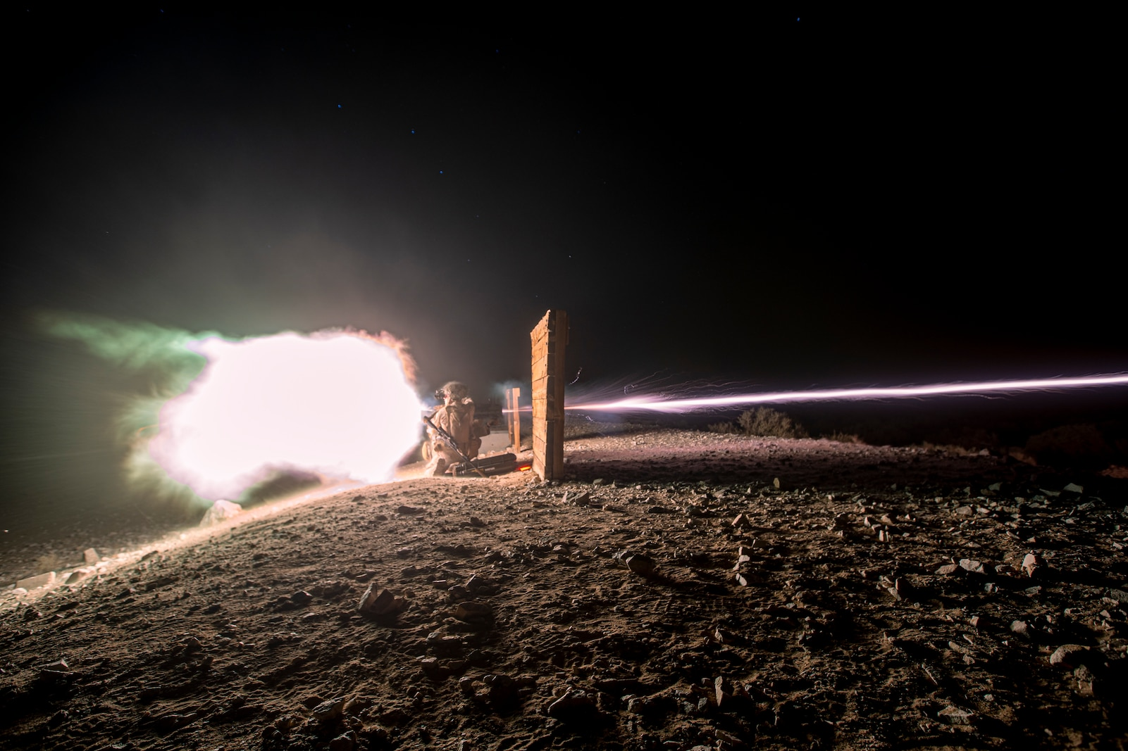 U.S. Marines with 1st Battalion, 3d Marines, employ a M3E1 Multi-purpose Anti-armor Anti-personnel Weapon System during a live-fire range as part of Service Level Training Exercise 1-22 at Marine Corps Air Ground Combat Center Twentynine Palms, California, Sept. 24, 2021. This training provides effective and intense repetitions in an expeditionary environment to ensure 3d Marines remains lethal and ready to fight now. (U.S. Marine Corps photo by Cpl. Juan Carpanzano)