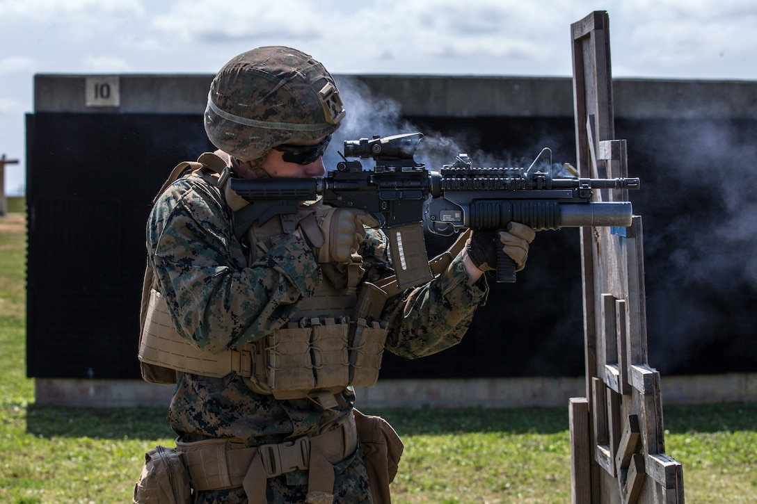U.S. Marine Corps Lance Cpl. Jared Roderick, a grenadier with Lima Company, 3d Battalion, 3d Marine Regiment, engages targets during a live-fire range on Camp Hansen, Okinawa, Japan, March 5, 2021. During the training, Marines were evaluated on a variety of weapons and communications skills, demonstrating their proficiency and readiness to rapidly deploy throughout the Indo-Pacific region. Roderick is native of Boston, Massachusetts. (U.S. Marine Corps photo by Cpl. Savannah Mesimer)