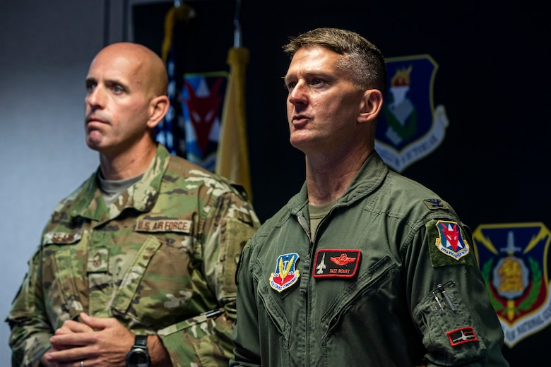 U.S. Air Force Col. Derek Routt, right, 177th Fighter Wing Commander, and 177th Command Chief Master Sgt. Michael Sears speak to Airmen during the 2021 NJANG Enlisted Summit from Joint Force Headquarter-Air, Joint Base McGuire-Dix-Lakehurst, N.J., Sept. 29, 2021.