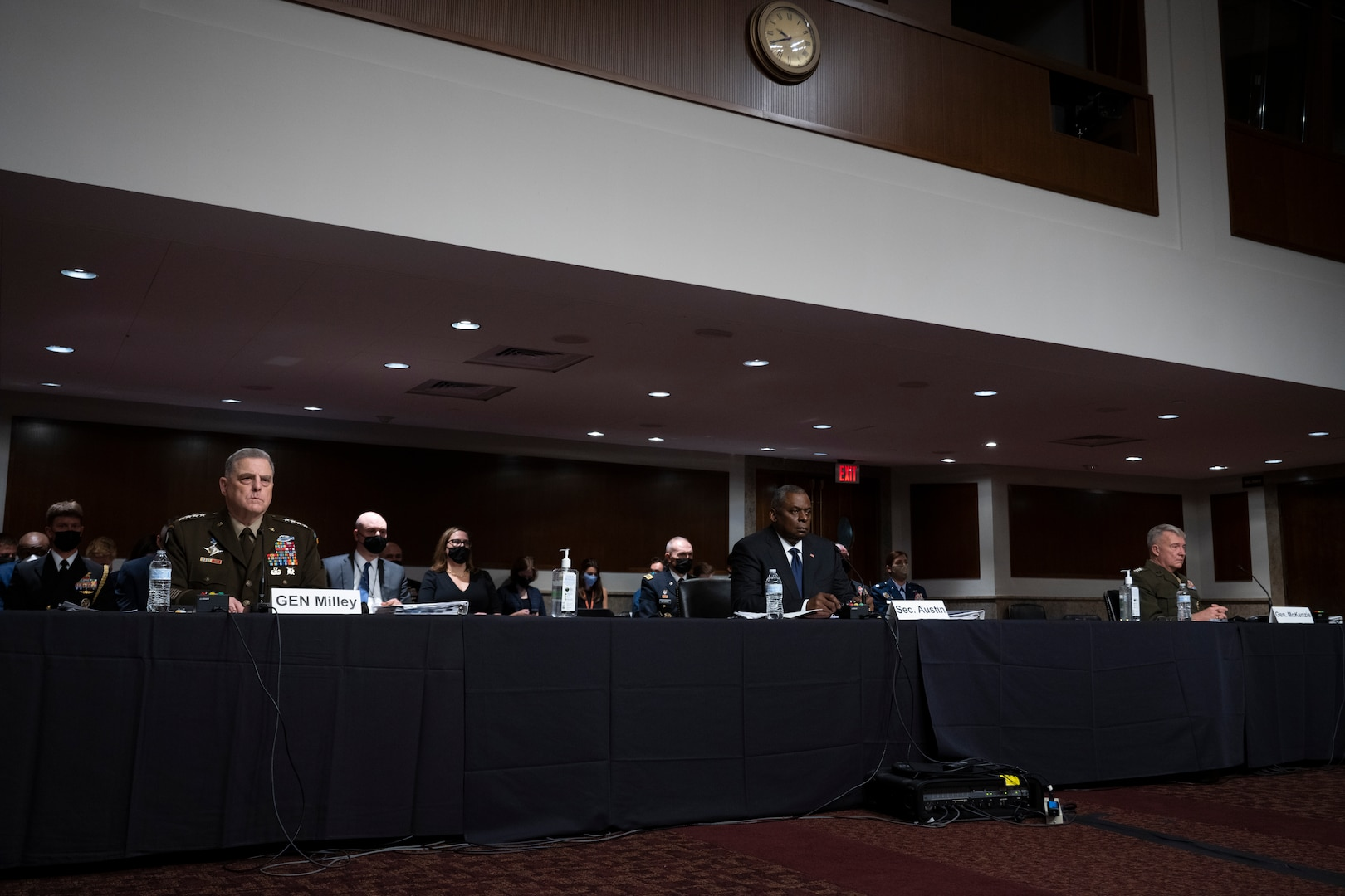 Secretary of Defense Lloyd J. Austin III, Gen. Mark Milley, chairman of the Joint Chiefs of Staff and Gen. Kenneth McKenzie, commander, United States Central Command appear before the Senate Armed Services Committee on the conclusion of military operations in Afghanistan and plans for future counterterrorism operations. (DoD photo by Chad J. McNeeley)