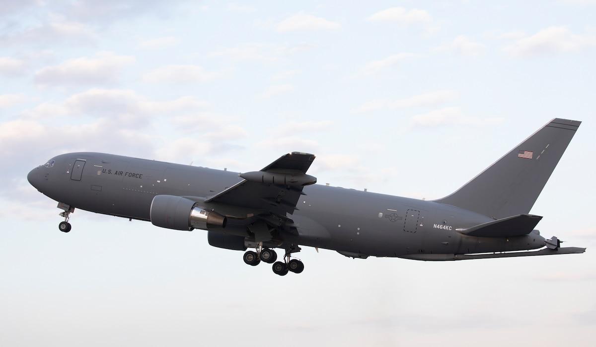 A Boeing KC-46A Pegasus takes off