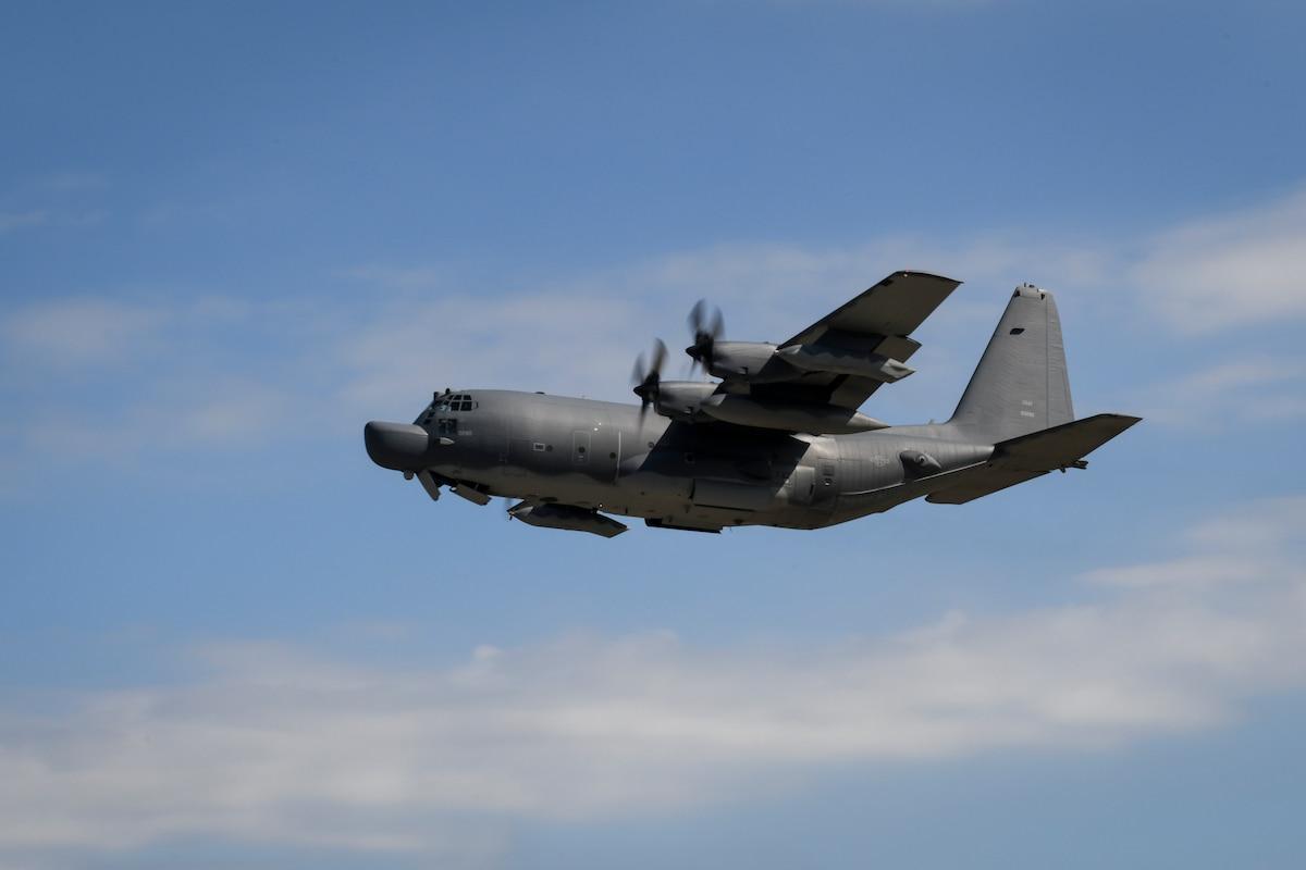 An MC-130H Combat Talon II flies over Hurlburt Field