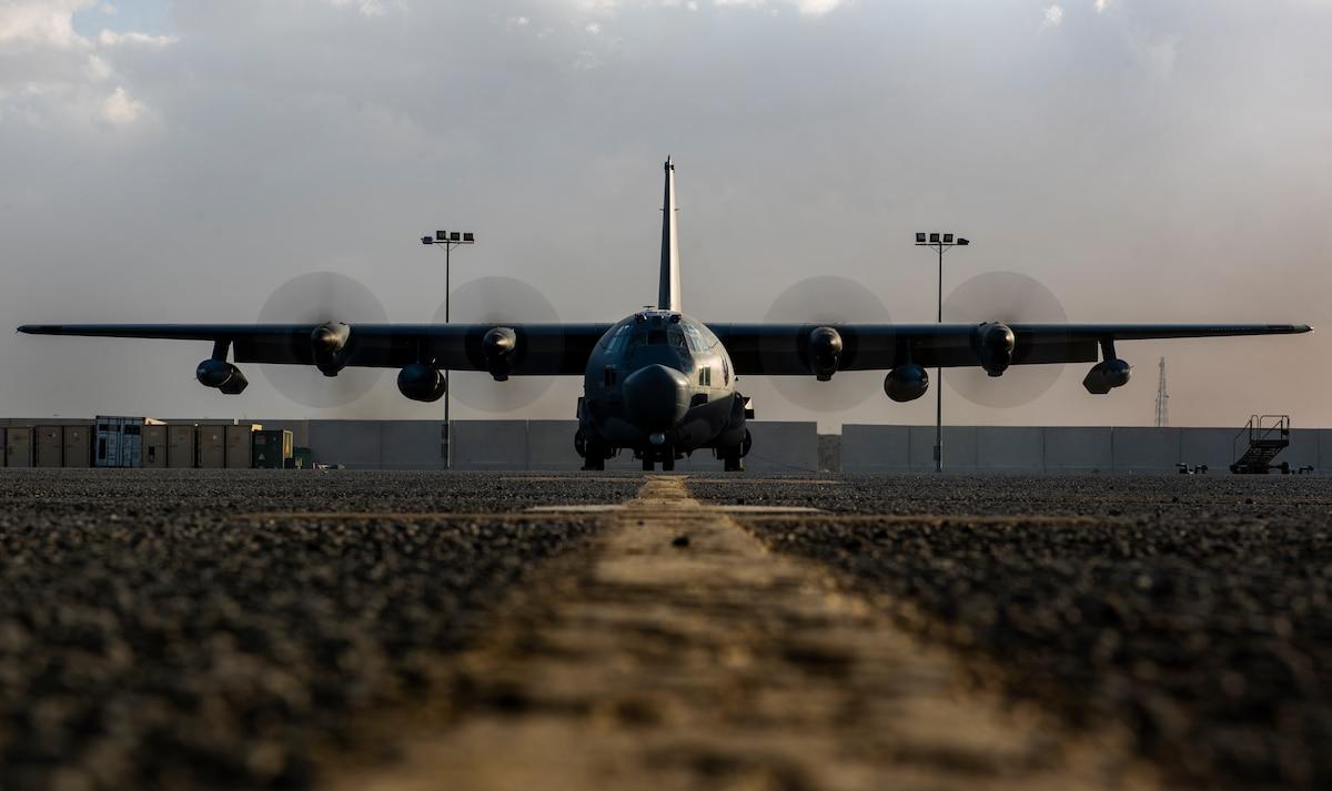 A MC-130 Combat Talon II has its engines tested