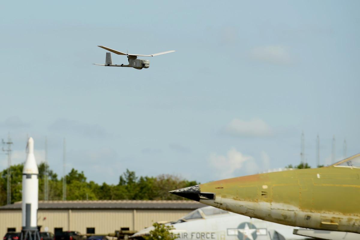 A RQ-11B Raven soars through the sky