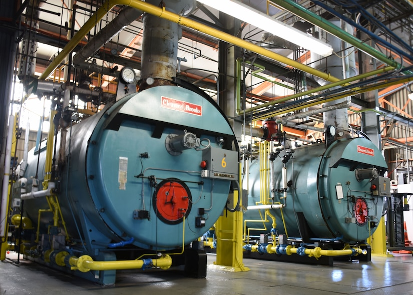 A picture of two high-pressure boilers inside the power plant.