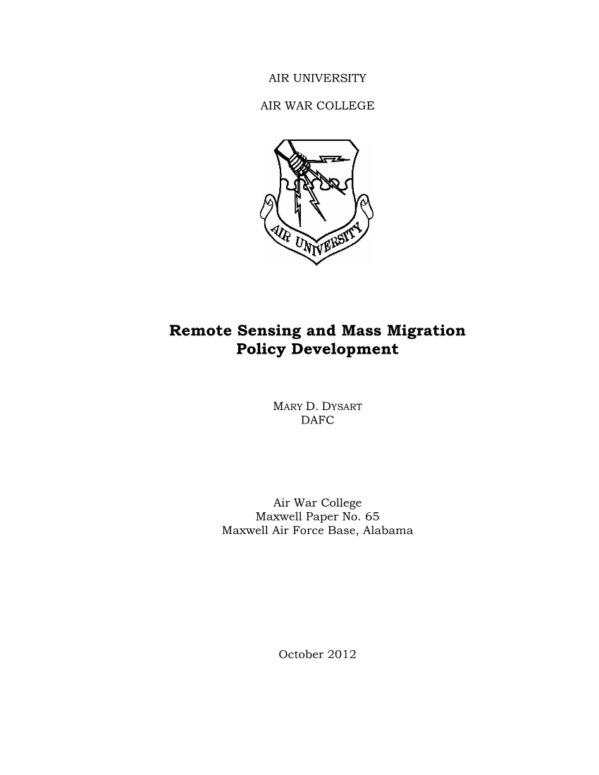 Remote Sensing and Mass Migration Policy Development
