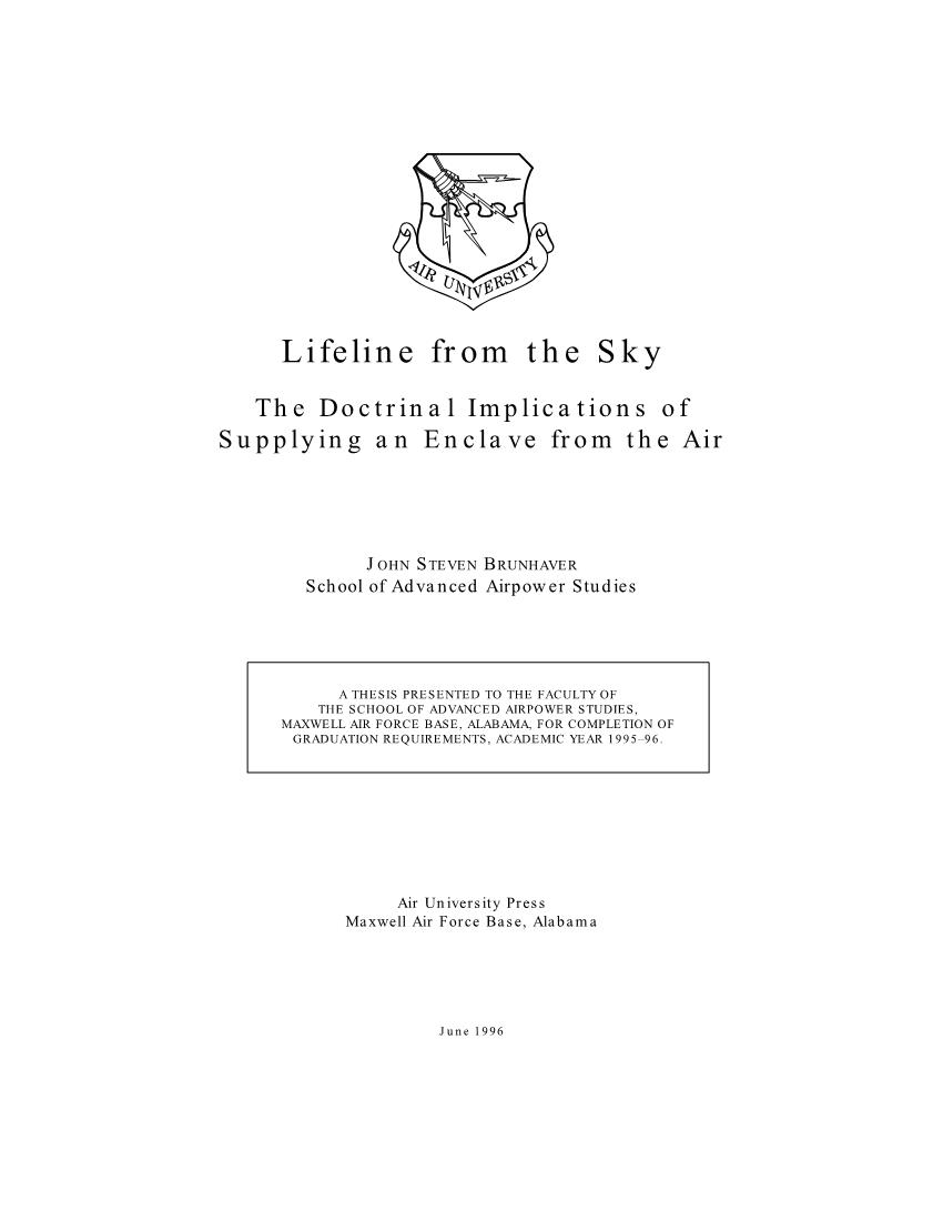 Lifeline from the Sky