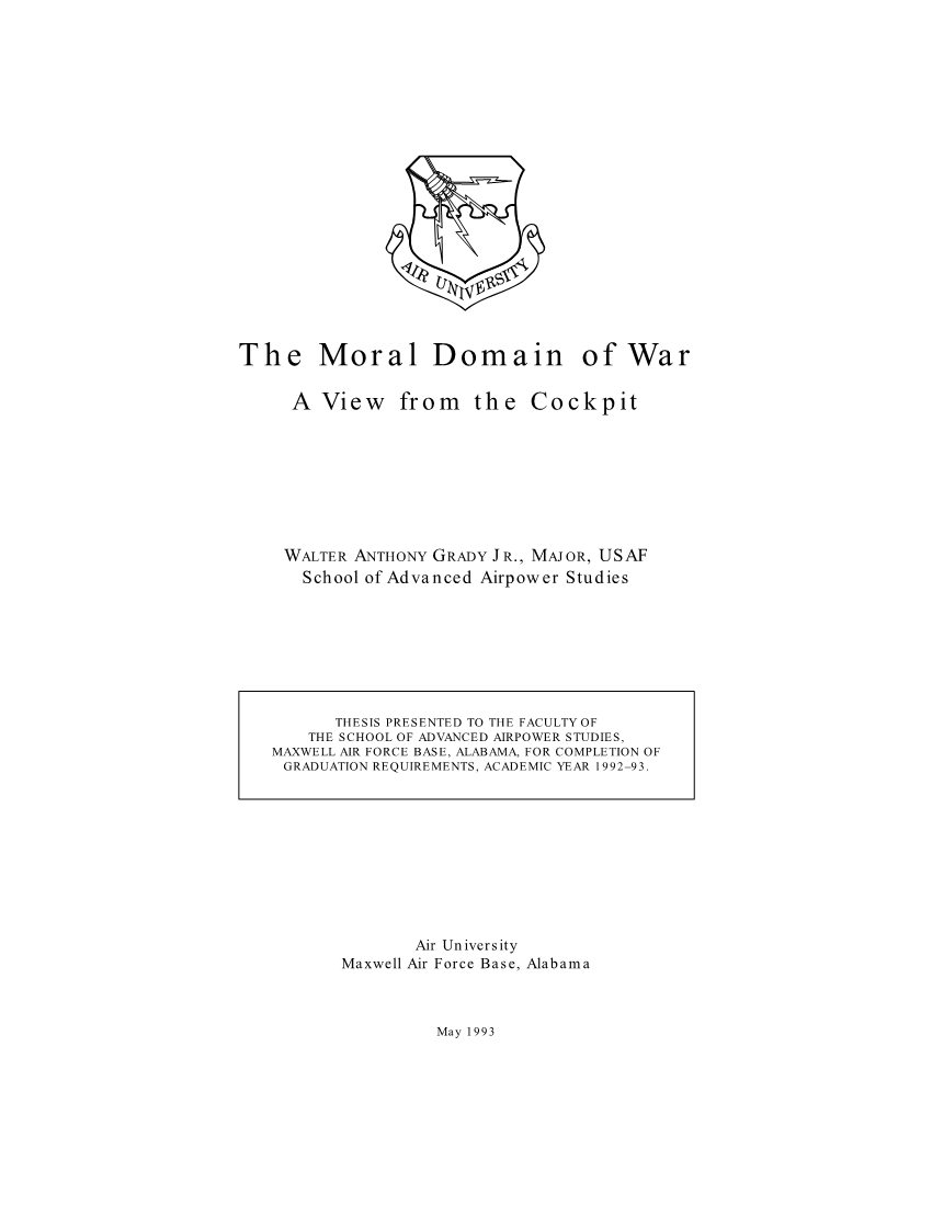 The Moral Domain of War