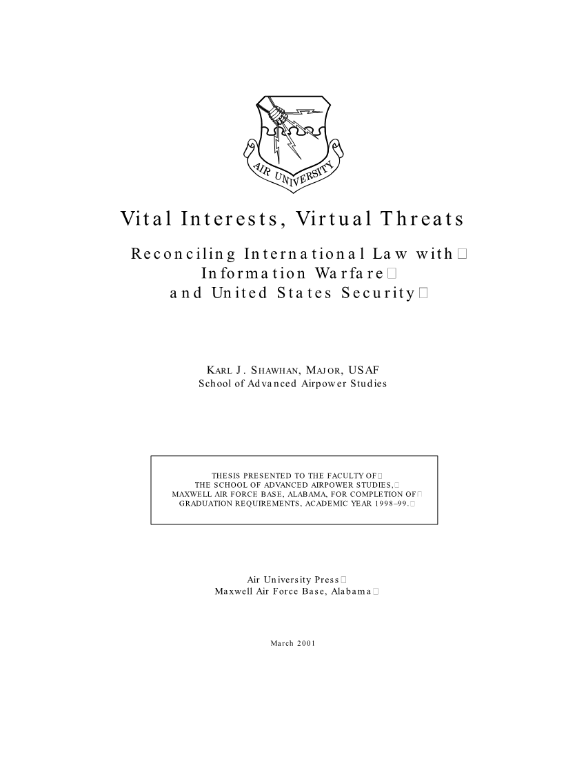 Vital Interests, Virtual Threats
