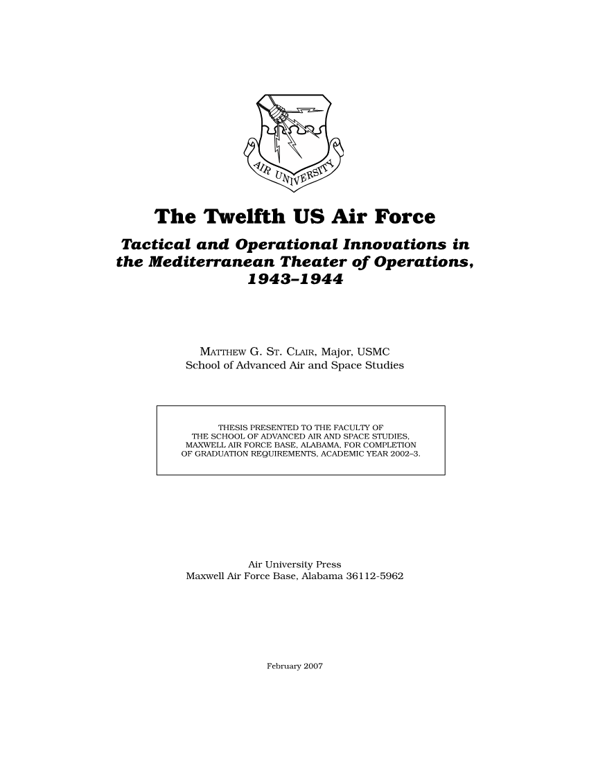 The Twelfth US Air Force
