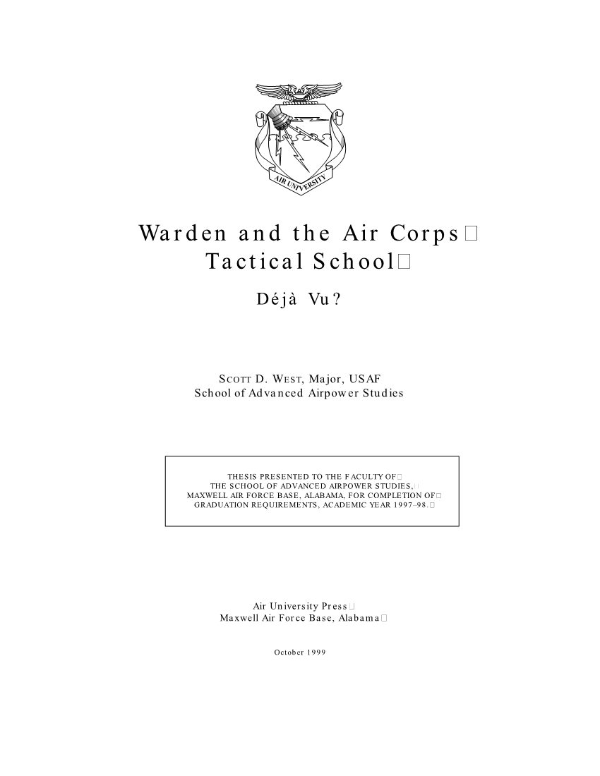 Warden and the Air Corps Tactical School