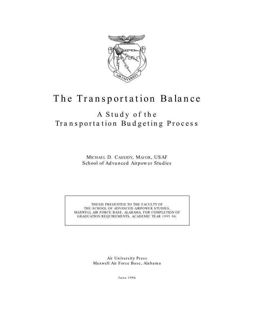 The Transportation Balance