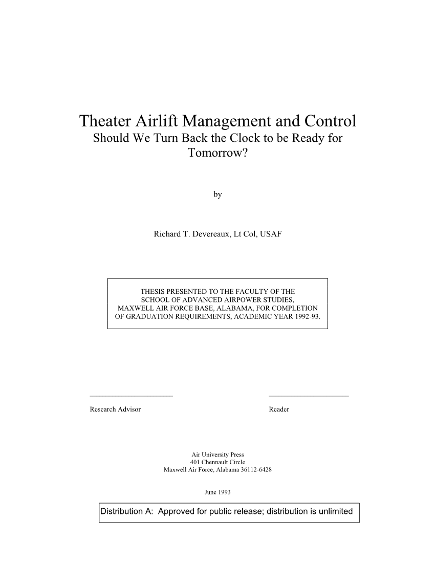 Theater Airlift Management and Control