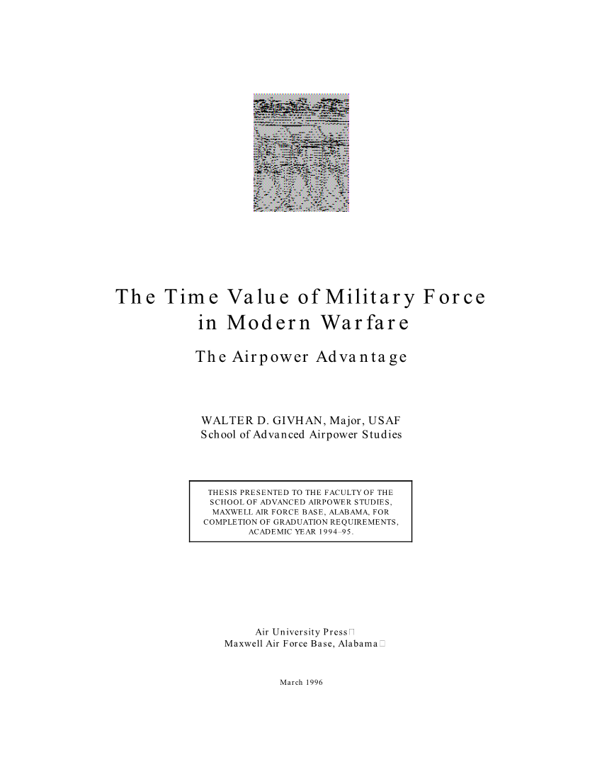 The Time Value of Military Force in Modern Warfare