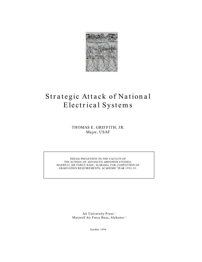 Strategic Attack of National Electrical Systems