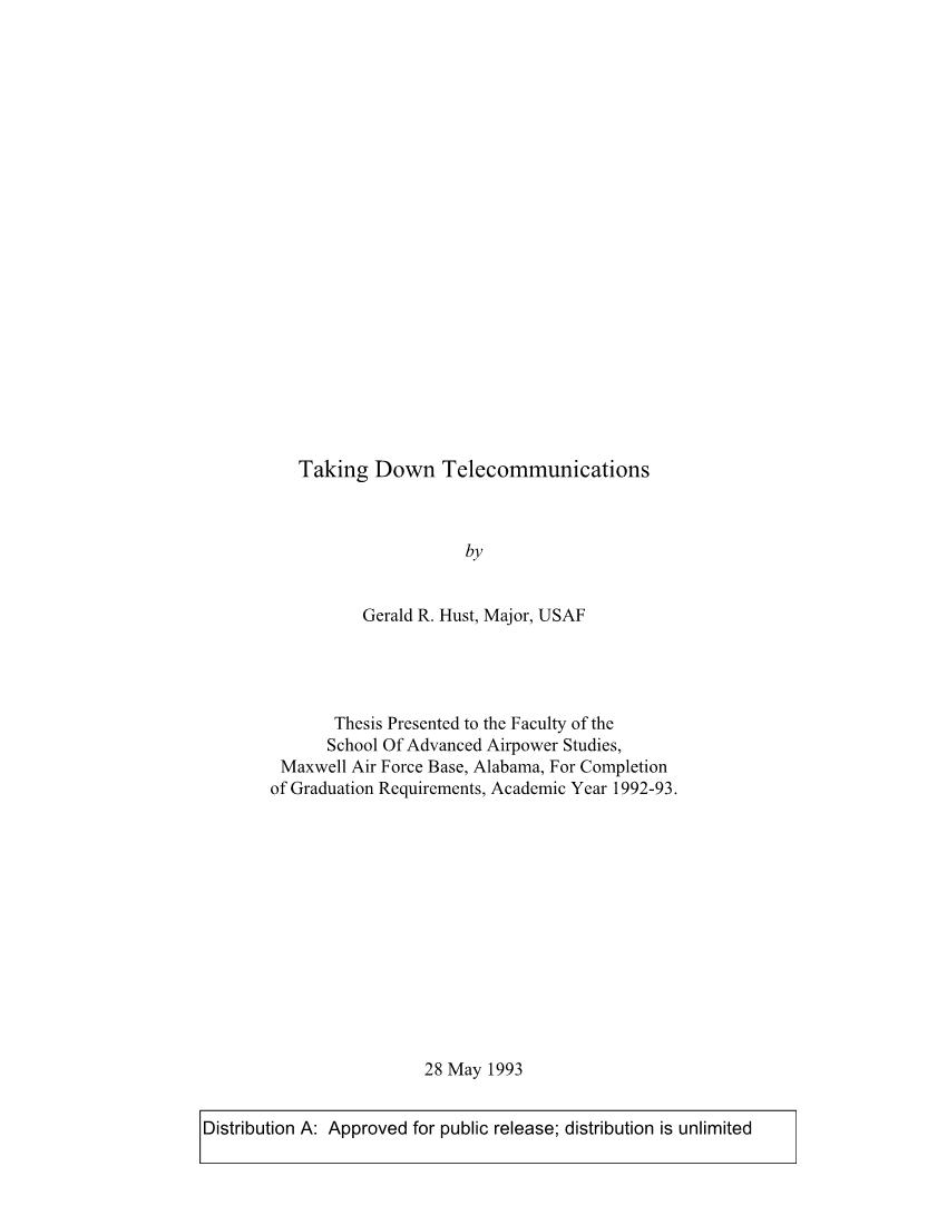 Taking Down Telecommunications