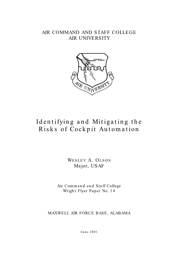 Identifying and Mitigating the Risks of Cockpit Automation