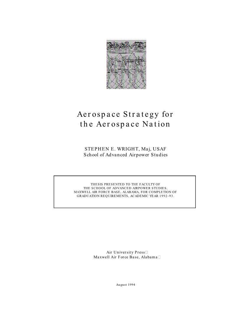 Aerospace Strategy for the Aerospace Nation