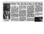 Dallas Star Jim Davis Dies in His Sleep, newsclipping