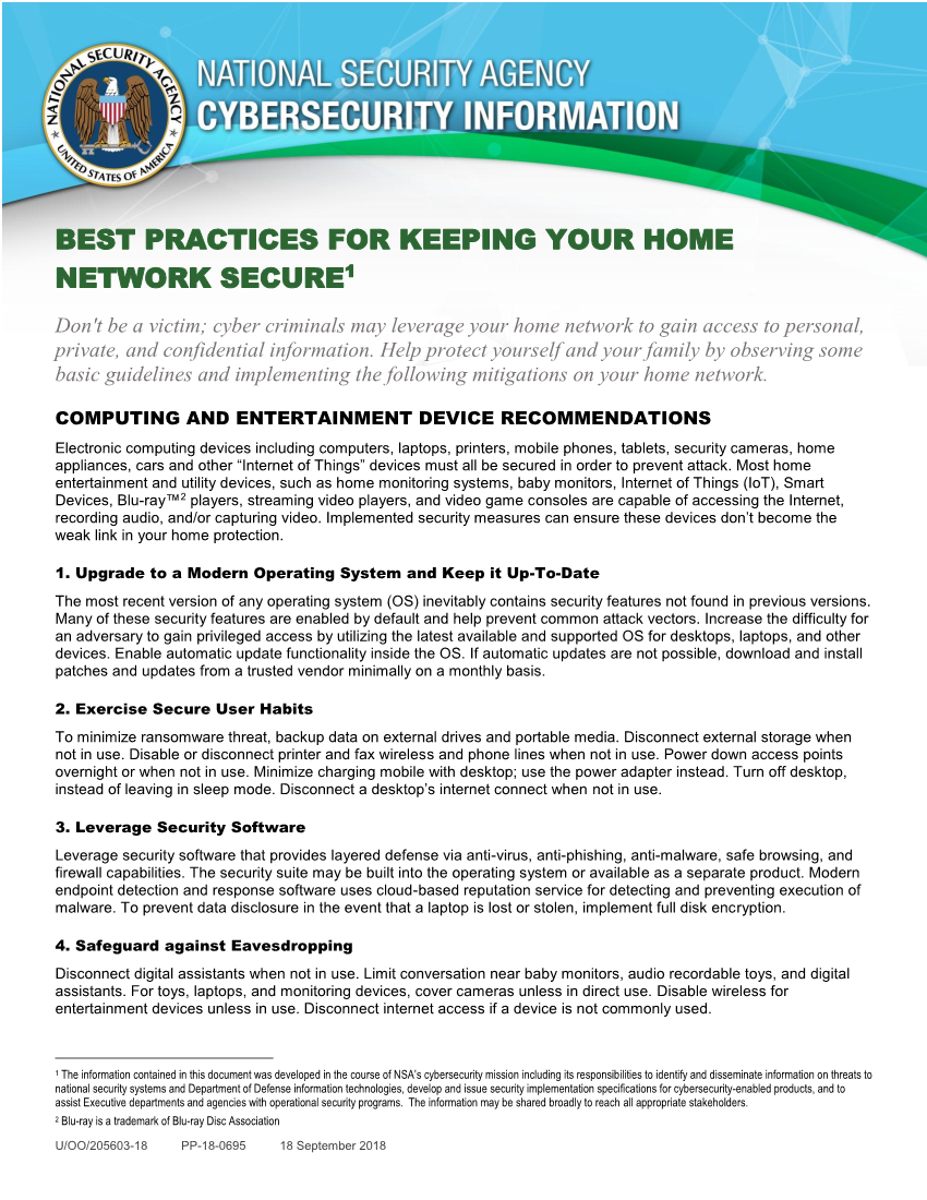 Info Sheet: Best Practices for Keeping Your Home Network Secure (September 2018)