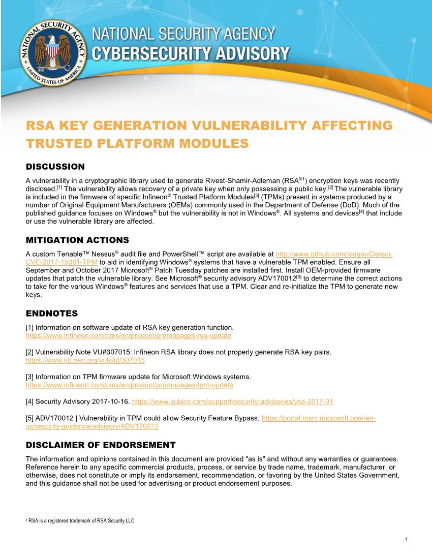 Infineon Tpm Vulnerability