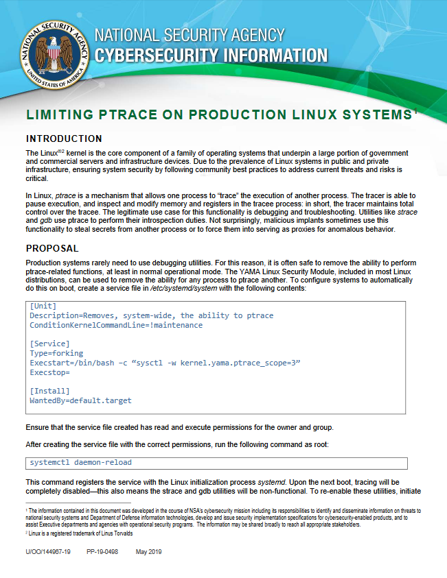 Info Sheet: Limiting ptrace on Production Linux Systems (May 2019)