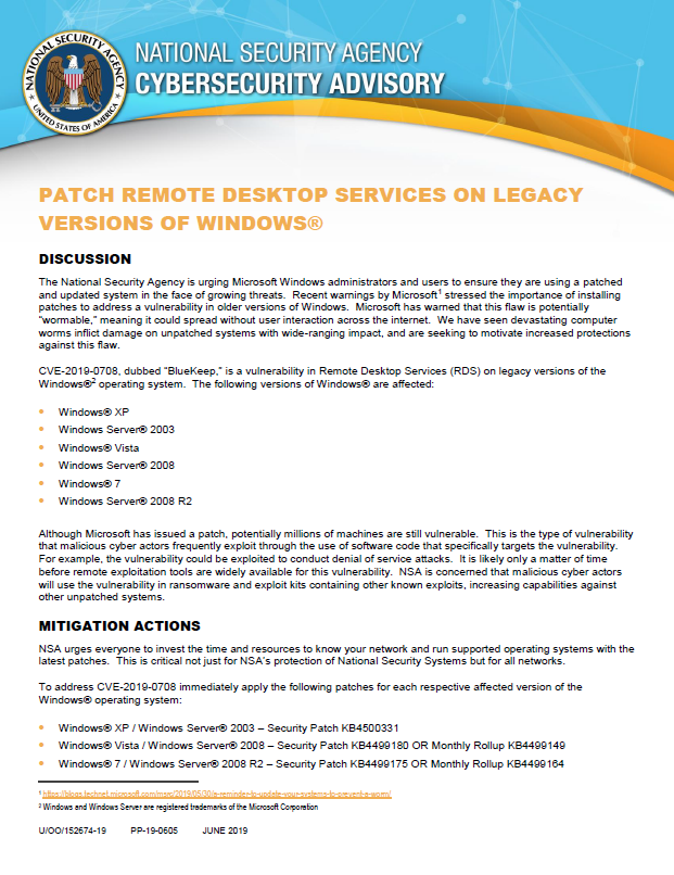 Advisory: Patch Remote Desktop Services On Legacy Versions of Windows  (June 2019)