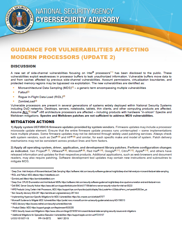 Advisory:  Guidance For Vulnerabilities Affecting Modern Processors - Update 2 (May 2019)