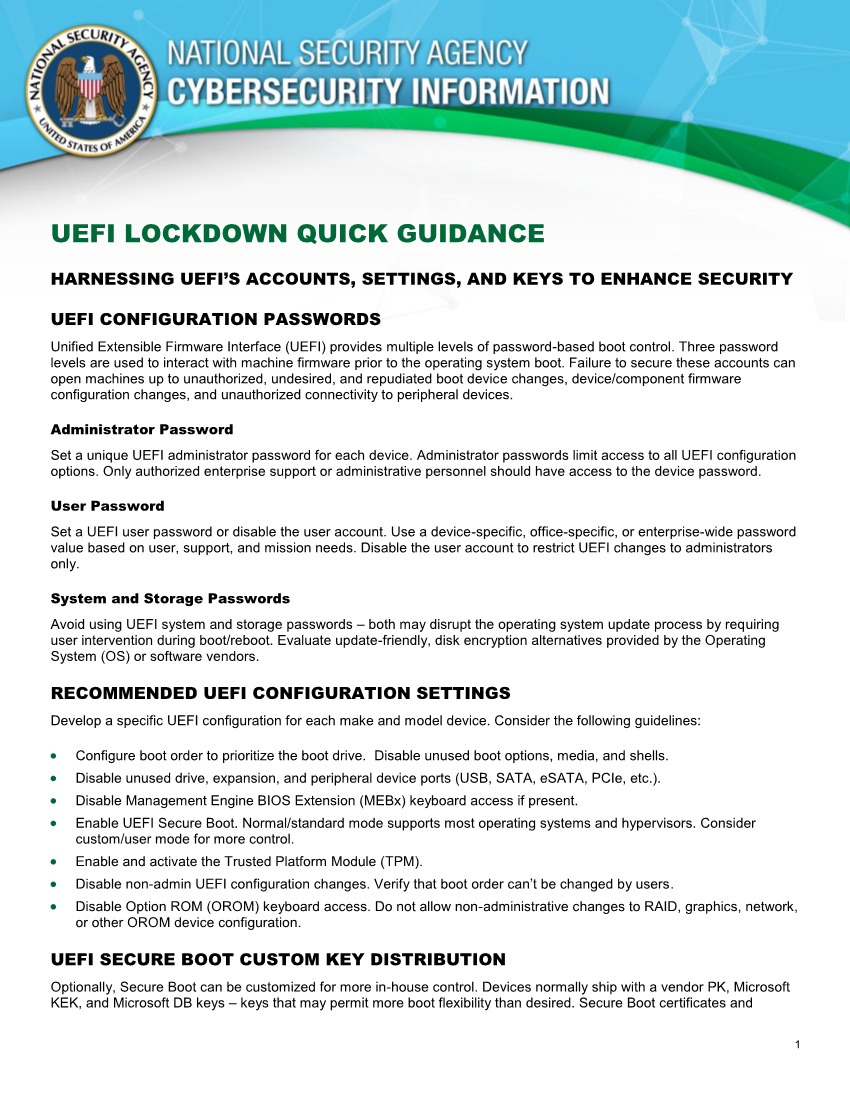 UEFI LOCKDOWN QUICK GUIDANCE