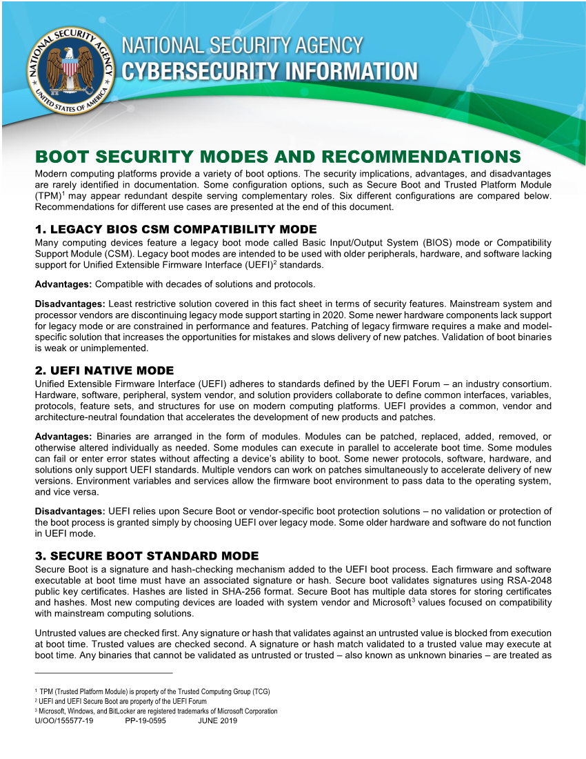 Info Sheet: Boot Security Modes Recommendations (June 2019)