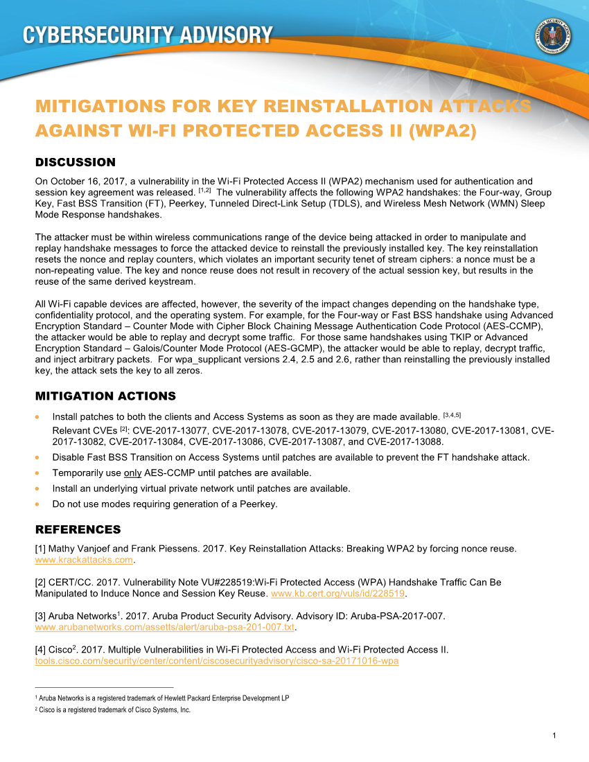 MITIGATIONS FOR KEY REINSTALLATION ATTACKS AGAINST WI-FI PROTECTED